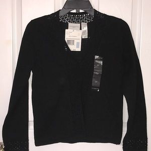 Liz Claiborne Crochet Cotton V Sweater Cardigan